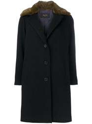 Palto Contrast Collar Coat Polyester Viscose Wool Black