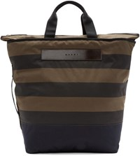 Marni Green And Black Striped Tote