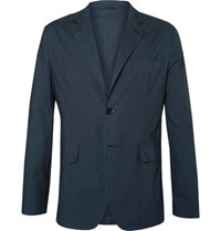 Aspesi Blue Slim Fit Unstructured Cotton Blazer Navy
