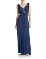 Patra Embellished Ruched Gown Blueberry