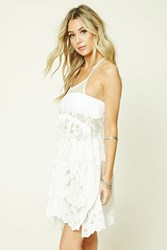 Forever 21 Embroidered Lace Cover Up Dress Cream