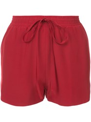 Robert Rodriguez Drawstring Mini Shorts Women Silk Xs Red