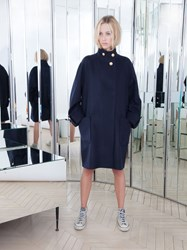 Alexis Mabille Oversize Coat In Navy Wool And Cashmere Blue