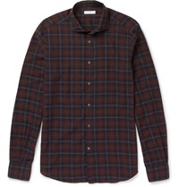 Boglioli Plaid Brushed Cotton Shirt Navy