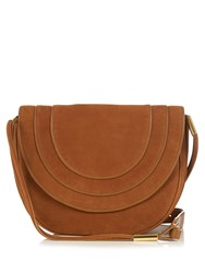 Diane Von Furstenberg Large Bullseye Leather Messenger Cross Body Bag Tan Gold