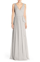 Ceremony By Joanna August Women's 'Newbury' Gathered Sleeve Chiffon Wrap Gown Rolling Stone