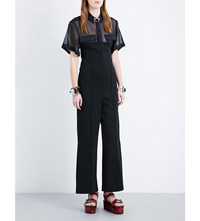 Toga Wide Leg Cotton Blend Jumpsuit Black