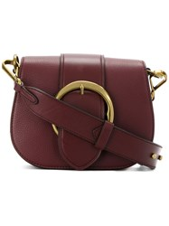 Polo Ralph Lauren Buckled Satchel Leather Red