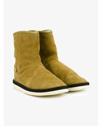 Suicoke Shearling Lined Suede Boots Camel Black Cream