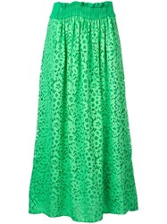 Tibi Lace Midi Skirt Green
