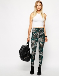 Daisy Street Legging In Palm Print Foresttropical