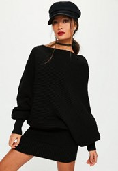 Missguided Black Slouchy Batwing Mini Knitted Dress