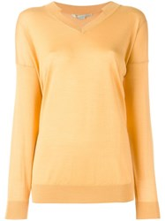 Stella Mccartney Ridged V Neck Jumper Yellow Orange