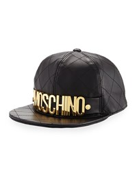 Moschino Quilted Leather Logo Baseball Hat Women's Pink