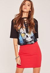 Missguided Stretch Crepe Mini Skirt Red