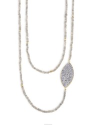 Shana Gulati Banjara Sirsi Sliced Raw Diamond And Labradorite Necklace Gold Multi