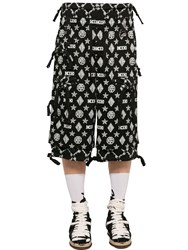 Ktz Monogram Print Cotton Gabardine Shorts