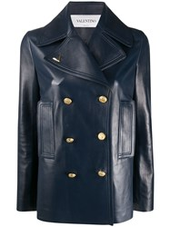 Valentino Double Breasted Vgold Jacket Blue