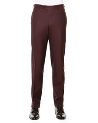 Stefano Ricci Flat Front Wool Trousers Aubergine