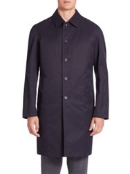 Saks Fifth Avenue Solid Long Sleeves Trench Coat Navy