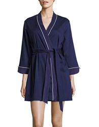 Kate Spade Embroidered Cotton Blend Robe Navy