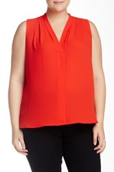 Vince Camuto Pleated V Neck Blouse Plus Size Red