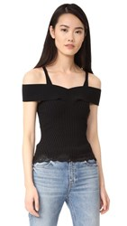 Alexander Wang Ribbed Knit Cropped Tank With Lace Hem Nocturnal