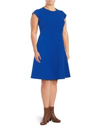 Vince Camuto Plus Cap Sleeve Fit And Flare Dress Purple