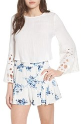 Moon River Bell Sleeve Tie Back Top White