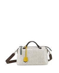 Fendi Small Double Handle Snakeskin Satchel Bag Black White Black White
