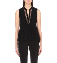 Sandro Evone Sleeveless Lace Detailed Top Noir