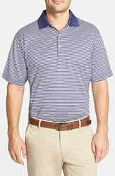Peter Millar Men's 'Classic Stripe' Egyptian Cotton Lisle Polo Patriot Navy White