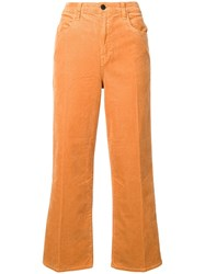 J Brand Straight Cropped Corduroy Trousers Brown