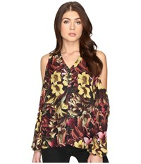 Catherine Malandrino Printed Chiffon Cold Shoulder Top Winter Floral Women's Clothing Gray