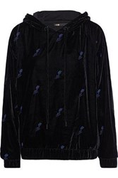 Maje Woman Embroidered Velvet Hoodie Black