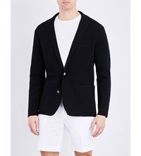 Ralph Lauren Purple Label V Neck Waffle Knit Cardigan Black White