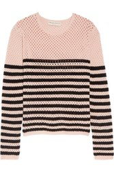Emilio Pucci Striped Open Knit Cashmere Sweater Baby Pink