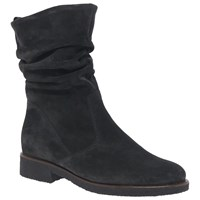 Gabor Greendale Medium Fit Gathered Detail Calf Boots Grey Suede