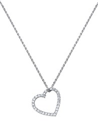 Crislu Platinum Finished Sterling Silver And Cubic Zirconia Heart Pendant Necklace Clear