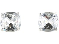 Kate Spade Small Square Studs Clear Silver Earring