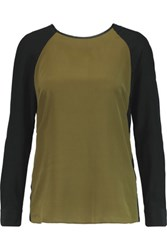 W118 By Walter Baker Carol Faux Leather Trimmed Silk Chiffon Top Army Green