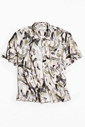 Urban Outfitters Uo Brushstroke Short Sleeve Button Down Shirt Pink