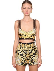 Versace Printed Silk Twill Crop Top Multicolor
