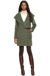 Lauren Ralph Lauren Hooded Buckle Front Wrap Coat Loden