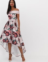 Chi Chi London Extreme Bandeau Midi Dress In Dusky Pink Floral Multi