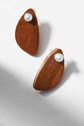 Anthropologie Pearl Almond Earrings Brown