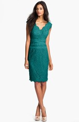 Women's Tadashi Shoji Embroidered Lace Sheath Dress Aqua Blue