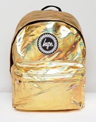 Hype Backpack In Gold Holographic Gold