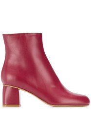 Red Valentino Round Toe Ankle Boots Red