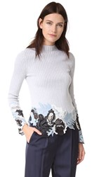 3.1 Phillip Lim Long Sleeve Embroidered Lace Ribbed Pullover Grey White